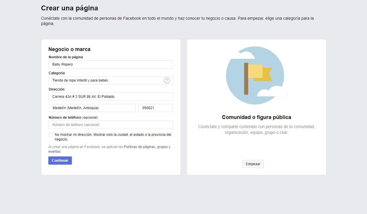 Comenzar con la página de Facebook
